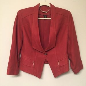 WHBM Linen Blend Rust/Burnt Orange Blazer/Jacket